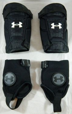 Under Armour Soccer Shin Guards w/ Ankle Protection Pads Size S Black heat gear #Underarmour