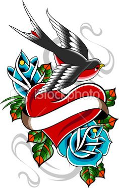 Still hummingbird with heart and scroll