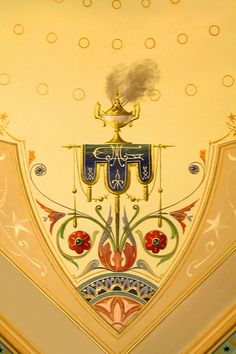 Frieze,cornice and ceiling decoration in the style of an oriental sultan's palace in the main boudoir, Villa Alba, 44 Walmer Street, Kew. Built for landboomer Willam Greenlaw.