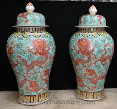 Pair Big Chinese Ming Porcelain Dragon Urns Vases Lidded Ceramic