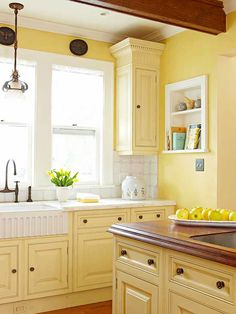We love this sunny kitchen! Don't be afraid of painted cabinets: http://www.bhg.com/kitchen/cabinets/styles/kitchen-cabinet-color-choices/?socsrc=bhgpin012414sunnydays