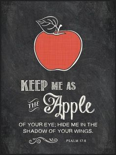 Keep Me As the Apple Of Your Eye, Chalkboard Wall Art  -Keep me as the apple of your eye. Hide me in the shadow of your wings. Psalm 17:8