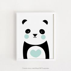 Mint heart Panda Poster bebe INSTANT DOWNLOAD Cute Printable art Heart Panda Bear animal poster baby room art print nursery art 8x10