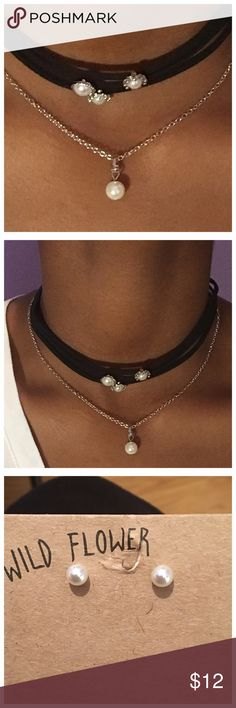 Layered Petite Pearl Choker and Earring Set Dainty pearl choker with matching pearl stud earrings. Jewelry Necklaces