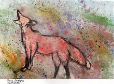 Original Fox painting Abstract ArtRed Fox howling by VisionDeArte, $35.00
