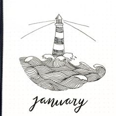 Bullet journal monthly cover page, January cover page, lighthouse drawing. | @sidstumpel