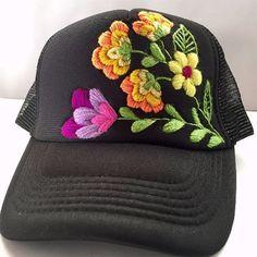 Azalea Embroidered Hat Hand Embroidery Patterns Flowers, Hat Embroidery, Hand Embroidery Stitches, Bone Floral, Bone Bordado, Embroidered Caps, Crochet Designs, Diy, Hats
