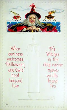When darkness welcomes Hallowe'en and Owls hoot long and low The Witches in the deep ravine move wildly to and fro. Halloween Poems, Vintage Halloween Cards, Happy Halloween, Witches, Owls, Darkness, Deep, Bruges, Owl