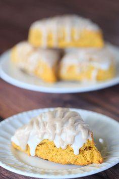 Pumpkin Scones with Spiced Glaze - A Starbucks copycat! | #pumpkin #scone #fall #holiday #baking