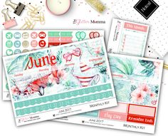 June Monthly Kit | Planner Stickers | Erin Condren | Recollections by TheGlitterMomma on Etsy