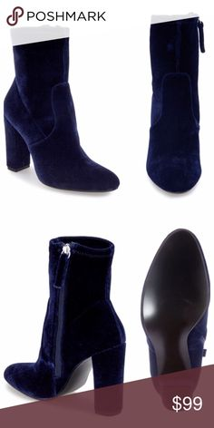 "Steven Madden booties ""Edit"" booties in  Blue Velvet. Never worn. Steve Madden Shoes Ankle Boots & Booties"