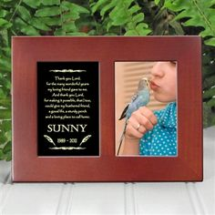 'Golden Memories' Personalized Pet Bird Memorial Picture Frame | EtchedInMyHeart.com | Walnut Brown Finish - $19.95