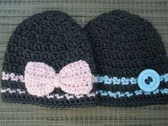 Twin Baby Boy Girl Hats in Charcoal Grey with Blue Pink Stripes Pink Bow and Blue Button, Newborn Twin Photo Prop on Etsy, $35.00