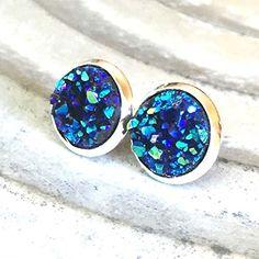 '=^_^=' Handmade Jewelry 10mm Navy Blue Iridescent Faux Druzy Stud Earrings…