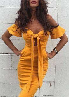 #summer #outfits / mustard dress