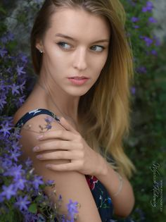 Flowery girl - portrait,   photo from my blog: http://www.photo4art.eu/ model: Anastasiia Bobrenko #portrait #woman #girl #dress #blonde #flowers #beautiful #pretty #young #model #garden #nature #summer #sexy #hair #eye #people