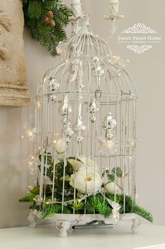 Bird Cage Centerpiece, Centerpieces, Light Decorations, Christmas Decorations, Holiday Decor, Wedding Gift Card Box, Shabby Chic Farmhouse, Paint Colors For Living Room, Bird Cages