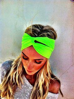 neon cloth headbands   Neon Fluorescent Green Turban Stretch Headband - Twisted Womens wide ...  @adrienne Gesser-Invergo