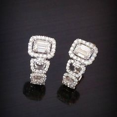 This pair of Emerald Cut Diamond Earrings will bring you a flair look #PrimaGems#emerald #earrings #finejewelry #jewelry