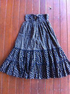 Gunne Sax Peasant Skirt blue calico Gunnies