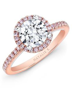 Rose gold engagement ring with pink diamonds set along the shank and around the halo I Style: NK28671PK-18WR I Le Rosé Collection by Natalie K I http://knot.ly/6498BFqOg