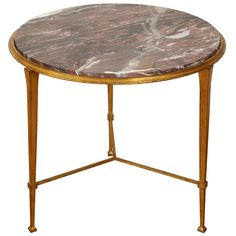 Rare Gilt Gueridon With Marble Top By Maison Ramsay, ca.1950's