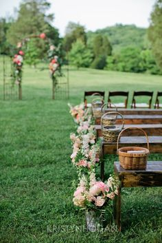 Cheerful Country Wedding Decor Ideas ★ country wedding aisle decorated with flowers and wicker baskets kristyn hogan photography Wedding Ceremony Ideas, Wedding Bench, Field Wedding, Outdoor Ceremony, Wedding Tips, Garden Wedding, Wedding Events, Wedding Planning, Wedding Ceremonies