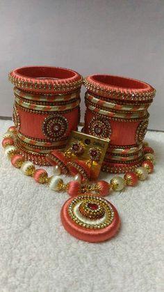 Silk Thread Jumkas, Silk Thread Bangles Design, Silk Thread Necklace, Silk Bangles, Beaded Necklace Patterns, Thread Jewellery, Jewelry Patterns, Diy Earrings Tutorial, Fabric Basket Tutorial
