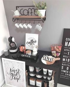 Coffee station inspiration with accents of black, white, pink. Coffee Bars In Kitchen, Coffee Bar Home, Home Coffee Stations, Coffe Bar, House Coffee, Coffee Tin, Coffee Shops, Starbucks Coffee, Coffee Area