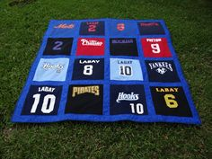 Memory Quilt out of 16 of Your Little League Shirts by sunshineofautumn on Etsy