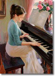 Original Painting, At the Piano by Vladimir Volegov