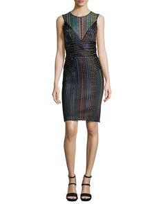 Sleeveless Multi-Stripe Banded Sheath Dress, Multi Colors, Size: 44, Multi Color - Just Cavalli