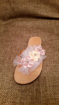 Items similar to Bridal flowers leather tule sandals on Etsy Bridal Flowers, Palm Beach Sandals, Wedding Ideas, Etsy, Trending Outfits, Unique Jewelry, Handmade Gifts, Leather, Shoes