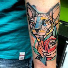 My new sphynx tattoo. ❤️ By Jan Mráz.
