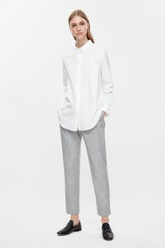 COS image 7 of Slim-fit cotton shirt in White