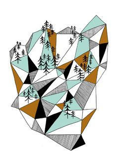 Geometric mountain print by depeapa on Etsy, $27.00