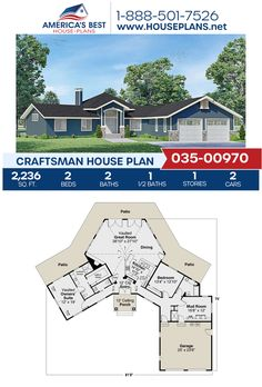 Covered in Craftsman details, Plan 035-00970 offers 2,236 sq. ft., 2 bedrooms, 2.5 bathrooms, a large rear patio feature, a mud room, and an open floor plan. Get more details about this Craftsman design on our website today. Craftsman Style Homes, Craftsman House Plans, Concrete Footings, Floor Plan Drawing, Construction Drawings, Floor Framing, Best House Plans, Build Your Dream Home, Architectural Elements