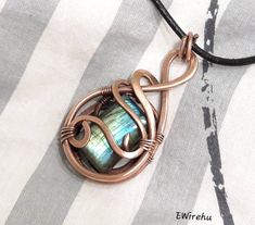 Beautiful blue and green labradorite copper pendant,wire wrapped handmade jewelry on necklace,natural stone jewelry, teardrop shape Labradorite Jewelry, Copper Jewelry, Wire Jewelry, Jewlery, Handmade Necklaces, Handmade Jewelry, Natural Stone Jewelry, Moon Jewelry, Leather Necklace