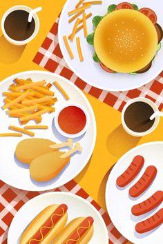 Chicken Illustration, Cute Illustration, Graphic Design Illustration, Food Graphic Design, Food Design, Food Art, Food Food, Food Wallpaper, Art Drawings For Kids