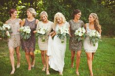 The best mismatched bridesmaid dresses don't simply involve mixing and matching color, but also interesting texture. Find dresses that coordinate and complement each other, each with their own dynamic textural element, such as beading, pleats, embroidered sequins, or lacy layers.