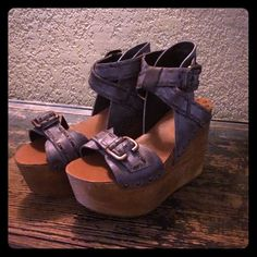 Like new Joe's womens size 7.5 These like new Joe's womens size 7.5 wooden and leather platform sandals were only worn once! Other