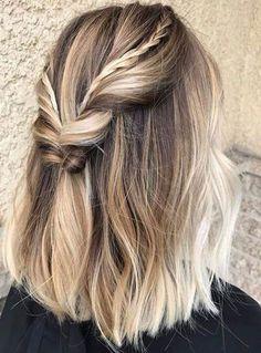 Coiffure carré long 2020 : 50 idées de coiffures carré long - Lucette Prom Hairstyles For Short Hair, Braids For Short Hair, Short Hair Cuts, Fall Hairstyles, Festival Hairstyles, Hairstyles 2018, Trendy Hairstyles, Medium Hairstyles, Pixie Cuts