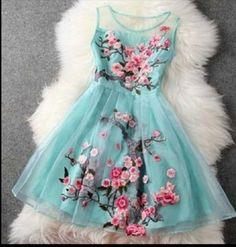 Blue Cherry blossom dress