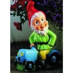 Garden Gnome on Tractor, Garden gnome, dwarf, gnome, garden figure, garden decorations, fairy tales, seven dwarfs, dwarf, garden gnome, decoration,