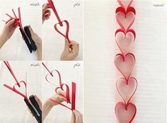 An easy way to decorate for Valentine's Day! How to make a heart chain!
