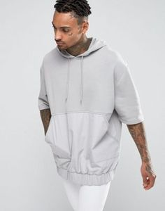 ASOS Oversized Hoodie With Short Sleeves And Woven Pocket