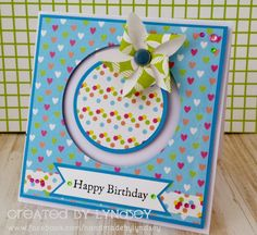 Penny Spinner Pinwheel card using the Simply Creative Happy Days paper by Lyndsey
