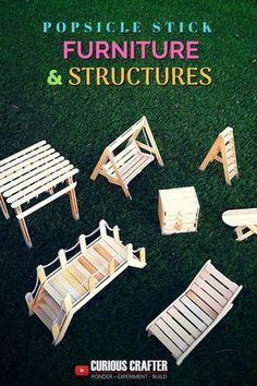 Popsicle stick furniture and structures. Step-by-step guide to creating different popsicle stick woo Fairy Garden Furniture, Fairy Garden Houses, Fairy Houses Kids, Fairies Garden, Diy Patio, Diy Pergola, Pergola Swing, Pergola Kits, Barbie Furniture