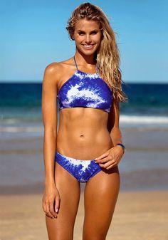 High-Neck Blue Bikini Set