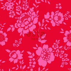 115724 Papier Tapete Blumen Rot und Rosa